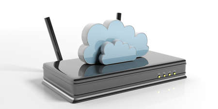 Computer cloud on a Wifi router - isolated on white background. 3d illustration Stock Photo