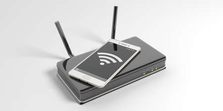 smartphone business: Wifi router and a smartphone isolated on white background. 3d illustration