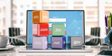 gov: Domain names cubes on a laptop - office background. 3d illustration