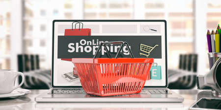 purchasing manager: Online shopping concept. Shopping basket on a laptop. 3d illustration