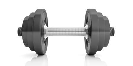 strengthen: Dumbbell weights isolated on white background. 3d illustration Stock Photo