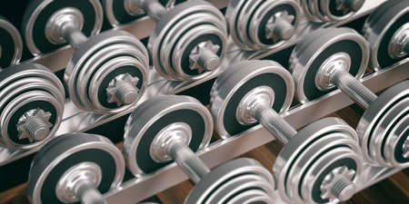 strengthen: Metal dumbbells weights full background. 3d illustration Stock Photo