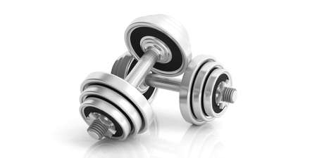 Dumbbells weights isolated on white background. 3d illustration