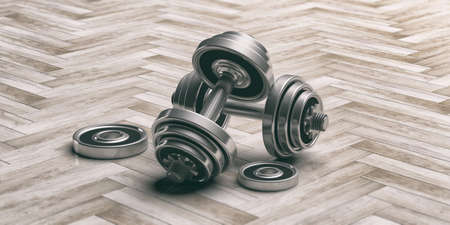 strengthen: Dumbbells weights on tiles background. 3d illustration Stock Photo