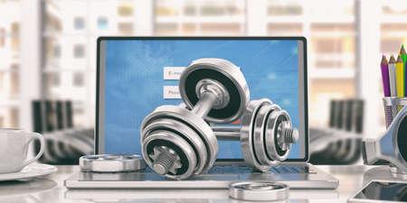 オンライン トレーニングのコンセプトです。ダンベルの重みとノート パソコンを分離 - オフィス背景。3 d イラストレーション 写真素材