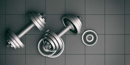 hand with dumbbell: Dumbbells weights on tiles background. 3d illustration Stock Photo