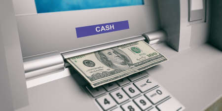 American dollars banknotes and ATM machine close up. 3d illustration