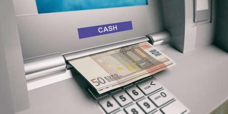 europe closeup: Euros and ATM machine close up. 3d illustration