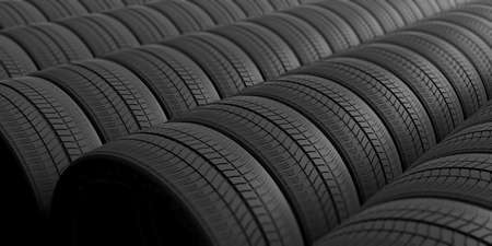 winter tires: Car tires as full background. 3d illustration