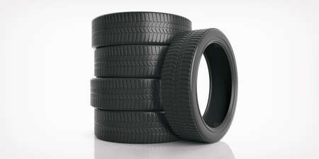 tread: Car tires stack on white background. 3d illustration