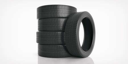 Car tires stack on white background. 3d illustration