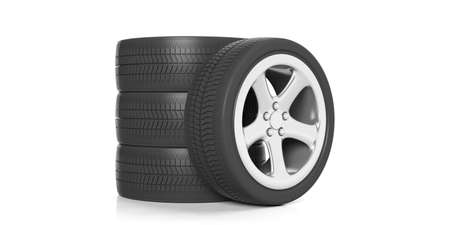 traction: Car wheels stacked on white background. 3d illustration Stock Photo