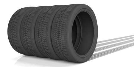 Car tires and tracks on white background. 3d illustration