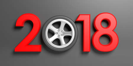 New year 2018 with cars wheel on grey background. 3d illustration Stock Photo