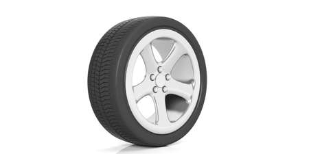 tread: Car tire and rim isolated on white background. 3d illustration