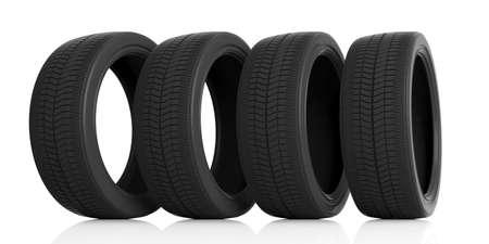 Car tires set isolated on white background. 3d illustration