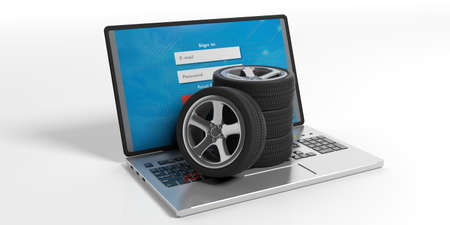 traction: Car wheels on a laptop on white background. 3d illustration