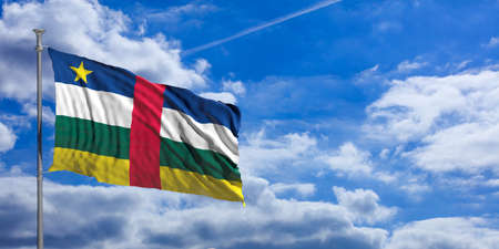 Central African Republic flag waving on a blue sky background. 3d illustration