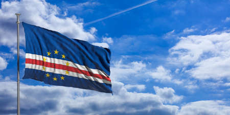 Cape Verde flag waving on a blue sky background. 3d illustration