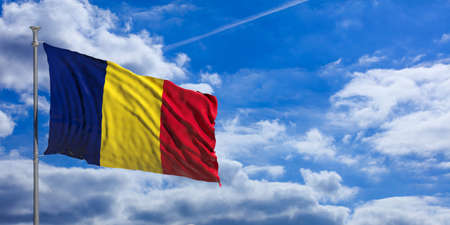 chad: Chad flag waving on a blue sky background. 3d illustration