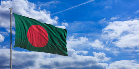 Bangladesh flag waving on a blue sky background. 3d illustration