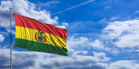 Bolivia flag waving on a blue sky background. 3d illustration Foto de archivo