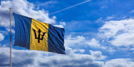 Barbados flag waving on a blue sky background. 3d illustration Stock Photo