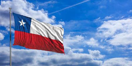 bandera chilena: Chile flag waving on a blue sky background. 3d illustration