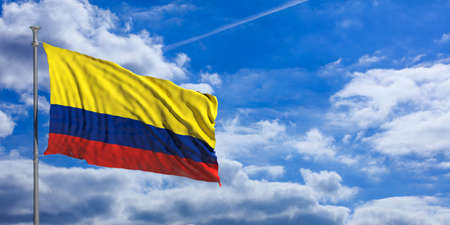 Colombia flag waving on a blue sky background. 3d illustration Stock Photo