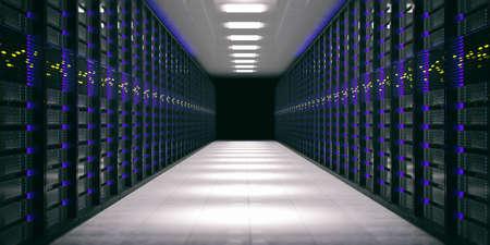 Data center. Computer server storage units. 3d illustration Stock Photo