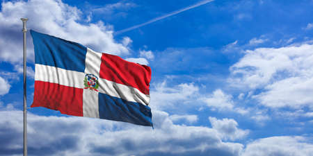 Dominican Republic waving flag on blue sky background. 3d illustration