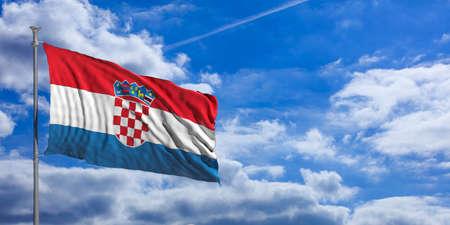 croatian: Croatia waving flag on blue sky background. 3d illustration Stock Photo
