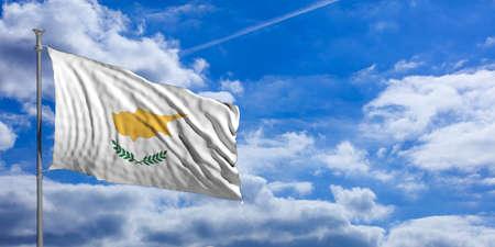 Cyprus waving flag on blue sky background. 3d illustration