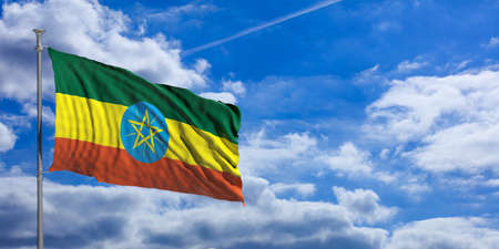 national flag ethiopia: Ethiopia waving flag on blue sky background. 3d illustration
