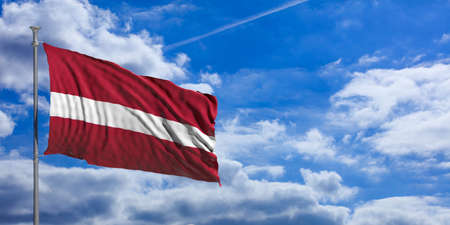 Latvia waving flag on blue sky background. 3d illustration