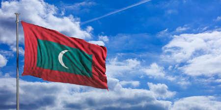 Maldives waving flag on blue sky background. 3d illustration