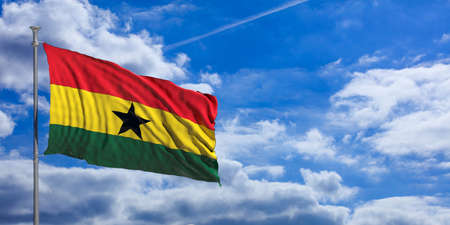 Ghana waving flag on blue sky background. 3d illustration