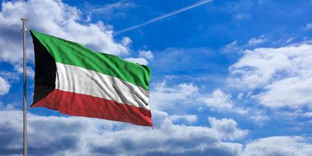 クウェートは、青い空を背景に旗を振っています。3 d イラストレーション 写真素材