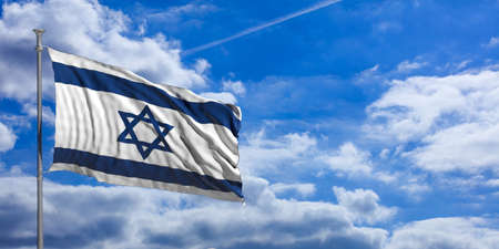 Israel waving flag on blue sky background. 3d illustration