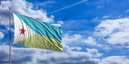 Djibouti waving flag on blue sky background. 3d illustration
