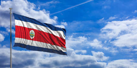 Costa Rica waving flag on blue sky background. 3d illustration