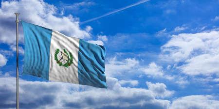 guatemalan: Guatemala waving flag on blue sky background. 3d illustration Stock Photo
