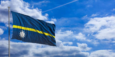 Nauru waving flag on blue sky background. 3d illustration