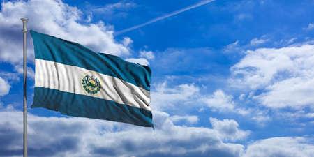 El Salvador waving flag on blue sky background. 3d illustration Stock Photo