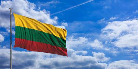 Lithuania waving flag on blue sky background. 3d illustration
