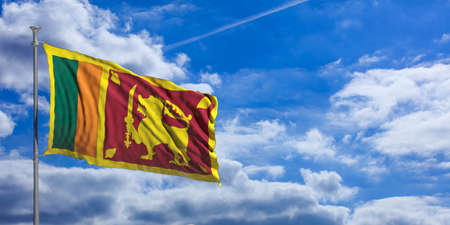 Sri Lanka waving flag on blue sky background. 3d illustration