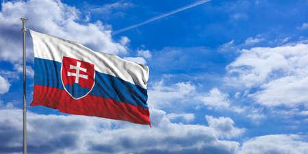 Slovakia waving flag on blue sky background. 3d illustration Stock Photo