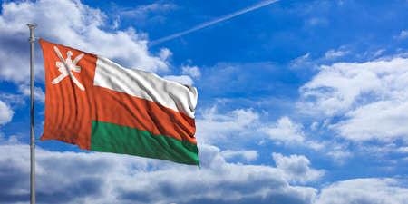 Oman waving flag on blue sky background. 3d illustration