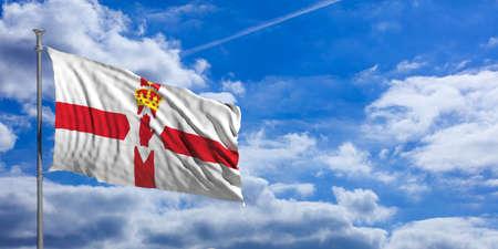 Northern Ireland waving flag on blue sky background. 3d illustration