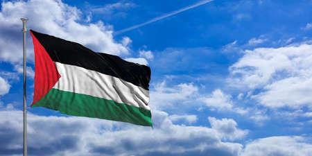 Palestine waving flag on blue sky background. 3d illustration